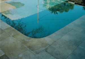 Green marble in a swimming pool