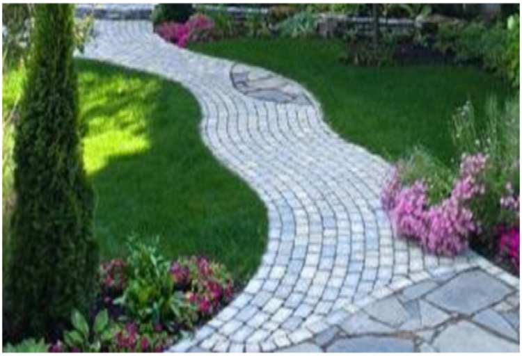 Design islands with Different Types of Stones in Driveway