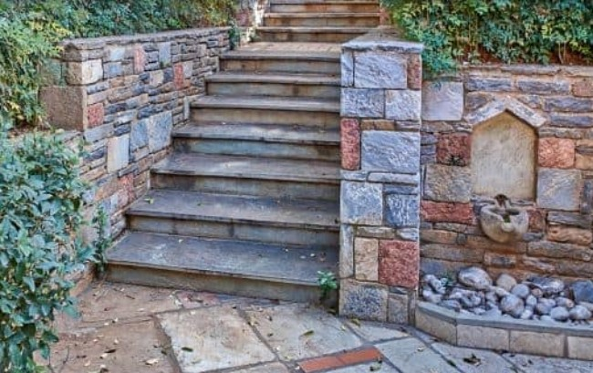 Stair Way with Ornate Retaining Wall