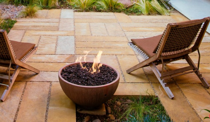 Stone Paving in a Parquet Pattern in a Mini Patio Design