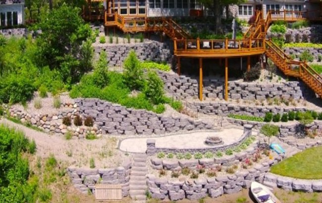 Stone Retaining Walls Creating Labyrinth in Garden for Kids