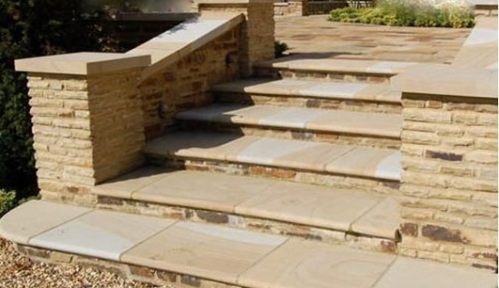 Garden Steps with Sandstone Pavers