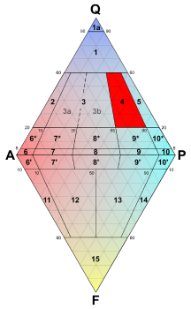 Granodiorite is in section 4 of the QAPF diagram