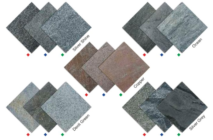 Natural Slates in different earthy tones