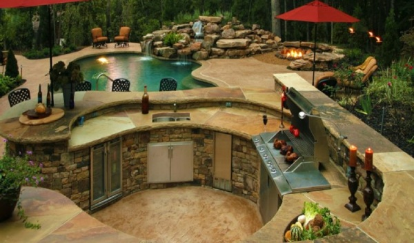 Outdoor Kitchen Cooking Poolside