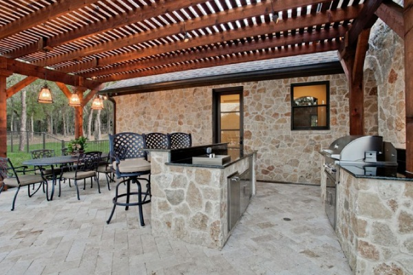Outdoor Kitchen with Complete Natural Stone Design