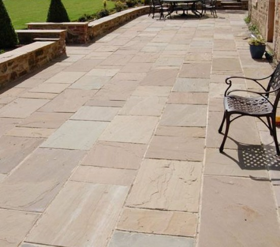 Sandstone Paving in Backyard