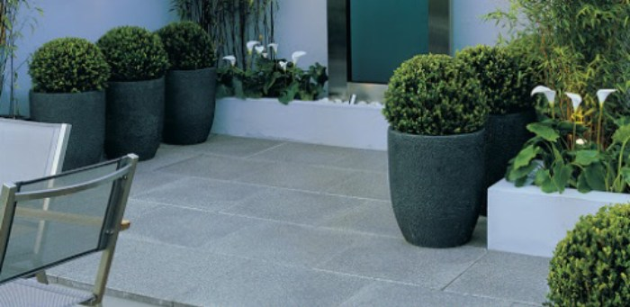 feature Exterior Paving with Green Granite