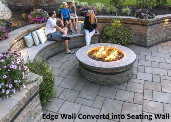 Natural Stone Edge Wall Converted in Seat Wall Around Firepit