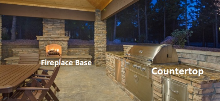 _Stone Slabs in Countertops & Fireplace