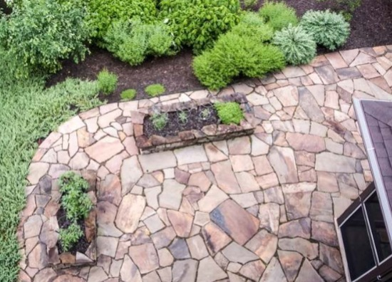 Stone Slabs in Outdoor Patio Paths_